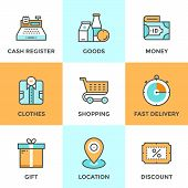 Shopping And Market Line Icons Set