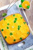 pic of clementine-orange  - Cherry dots orange upside down cake on board - JPG