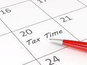 Tax time written on calendar