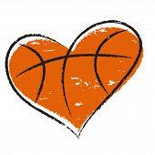 stock photo of basketball  - Basketball heart isolated on white background for sports design - JPG