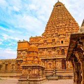 stock photo of trichy  - Great architecture of Hindu Temple Brihadishwara India Tamil Nadu Thanjavour  - JPG