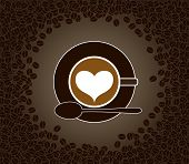 Cup Of Cappuccino With Heart Shape Pattern Surrounded By Cofee Beans