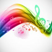 stock photo of clefs  - Colorful wavy music background with notes and g - JPG
