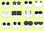 Linear Cute Faces Emoji