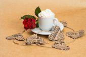 ?up Of Coffee With Cream With Flower Rose And Heart .