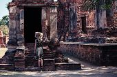 Woman Exploring Ancient Ruins