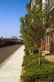 Sidewalk along apartments in summer
