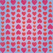 Abstract Ornament From Hearts Arranged Vertically On Blue Background