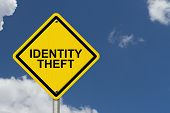 pic of theft  - Identity Theft Warning Sign Yellow warning road sign with word Identity Theft with sky background - JPG