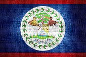Flag of Belize on burlap fabric