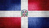 Dominican Republic on burlap fabric