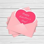 Valentines Congratulations On Wooden Background