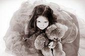 Cute Little Girl  With Her Teddy-bear Toy Friend