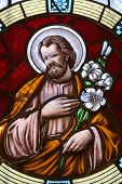 MARIJA BISTRICA, CROATIA - JULY 14: Saint Joseph, stained glass window in Basilica Assumption of the Virgin Mary in Marija Bistrica, Croatia, on July 14, 2014