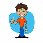 Cartoon illustration of a happy man giving thumb up