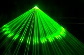 picture of laser beam  - Laser show on a disco party in night club - JPG