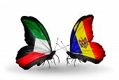 Two Butterflies With Flags On Wings As Symbol Of Relations Kuwait And Moldova