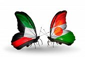 Two Butterflies With Flags On Wings As Symbol Of Relations Kuwait And Niger