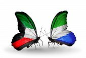 Two Butterflies With Flags On Wings As Symbol Of Relations Kuwait And Sierra Leone