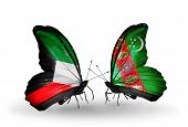 Two Butterflies With Flags On Wings As Symbol Of Relations Kuwait And Turkmenistan