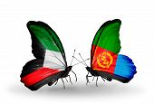 foto of eritrea  - Two butterflies with flags on wings as symbol of relations Kuwait and Eritrea - JPG