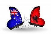 Two Butterflies With Flags On Wings As Symbol Of Relations Australia And Albania