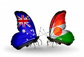 Two Butterflies With Flags On Wings As Symbol Of Relations Australia And Niger