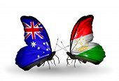 Two Butterflies With Flags On Wings As Symbol Of Relations Australia And Tajikistan
