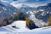 View from the mountain on the wintry Mayrhofen