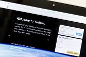 Ostersund, Sweden - Feb 1, 2015: Twitter website on an apple computer screen. Twitter is a free social networking and microblogging service