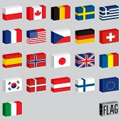 Vector set of world flags. Flags-boxes.