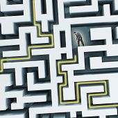 Businessman standining in labyrinth