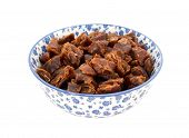 Chopped Dates In A Blue And White China Bowl