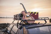 Music instrumental guitar car outdoor background