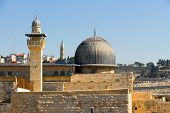 image of aqsa  - Al Aqsa Mosque the third holiest site in Islam with Mount of Olives in the background in Jerusalem Israel - JPG