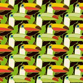 toucans bird colorful seamless pattern