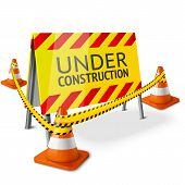 picture of cone  - Bright Under Construction sign with orange stripped road cones and yellow caution tape - JPG