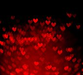 Red Hearts Bokeh As Background