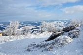 foto of zakarpattia  - View from of Gemba mountain during winter sunny day trip Transcarpathians - JPG