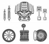 Vector Set Of Spare Parts For Car