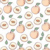 Hand Drawn Peach With Slice Seamless Pattern