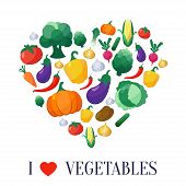 picture of artichoke hearts  - Vector Vegetables Flat Style Icons Set in Heart Shape with Eggplant - JPG