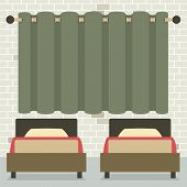 stock photo of curtain  - Twin Beds In Front Of Curtain And Brick Wall Vector Illustration - JPG