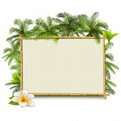 picture of tree-flower  - Blank bamboo frame with palm trees and flower - JPG