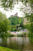 pic of moselle  - castle ruin over bernkastel village and moselle river saarland germany - JPG