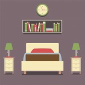 image of flat-bed  - Flat Design Single Bed With Lamps Vector Illustration - JPG