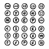 pic of indian currency  - illustration vector hand drawn doodles international currency symbols isolated on white background - JPG