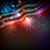 image of usa flag  - Fireworks background for 4th of July Independense Day - JPG