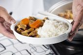 picture of curry chicken  - Chef presented Japanese pork curry with steam rice  - JPG