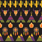 picture of wigwams  - Native american seamless vector colorful pattern indigenous background illustration with dreamcatcher fire animal skull wigwam and cactus - JPG